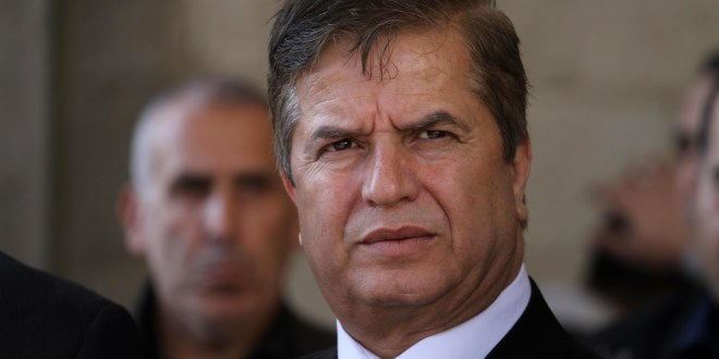 Palestinian minister of health Jawad Awwad, looks on upon his arrival with members of unity government to the Gaza Strip