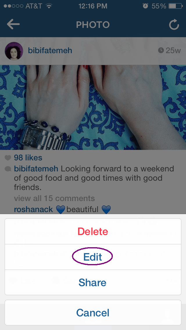 You can now change your Instagram captions  Fatemeh Fakhraie
