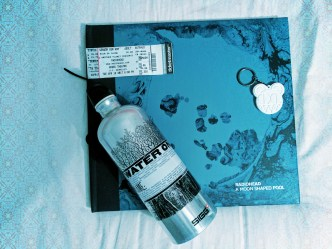 ticket | white bearhead | w.a.s.t.e. bottle and white bearhead