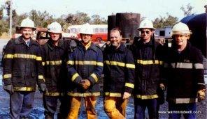 Warren Rodwell 2nd left firefighting