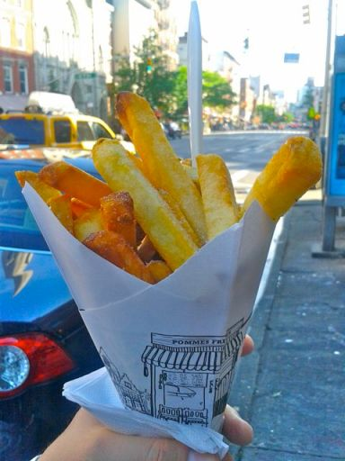 Fries from Pommes Frites in the East Village, NYC