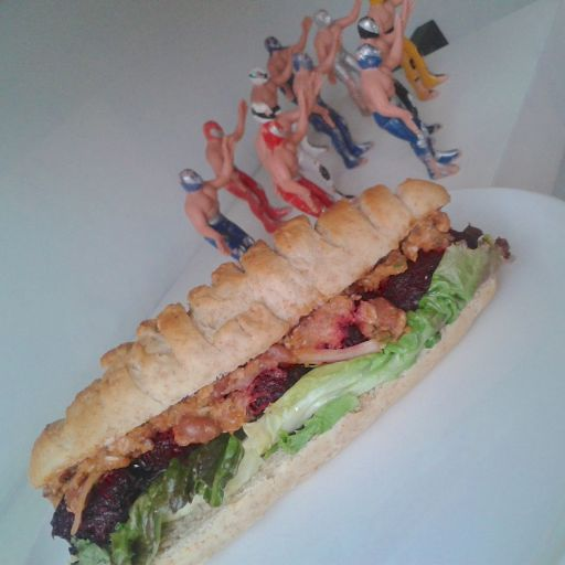 Red falafel sandwich