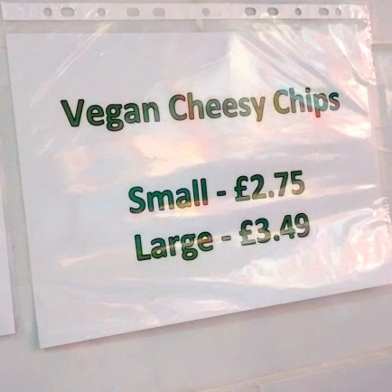 sign vegan cheese chips
