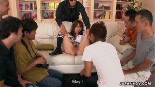 Japanese girl fucking and sucking for extra cash