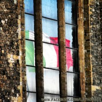 Reflection of Italian flag in Florence