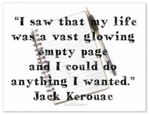 glowing empty page Kerouac
