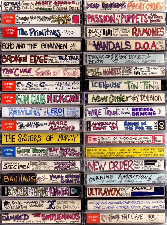 Image from MashKulture - click pic for article on Cassette Tape Spine Art article