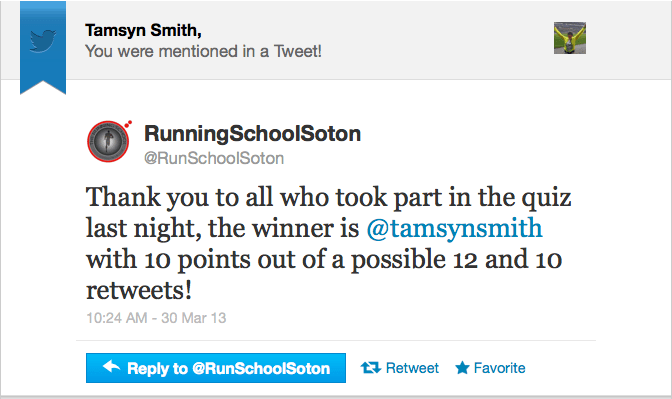 Tweet about winning Running School competition