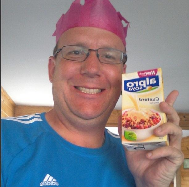 Chris and some dairy-free custard
