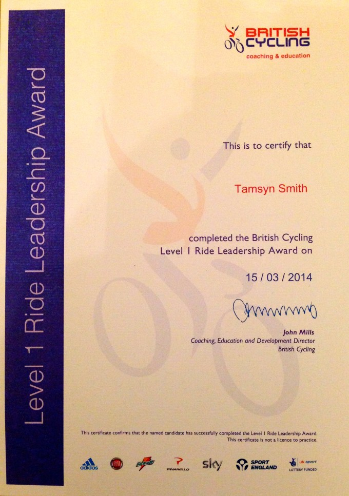 British Cycling Level 1 Ride Leadership certificate