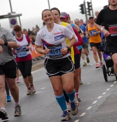 Tamsyn running at Brighton Marathon