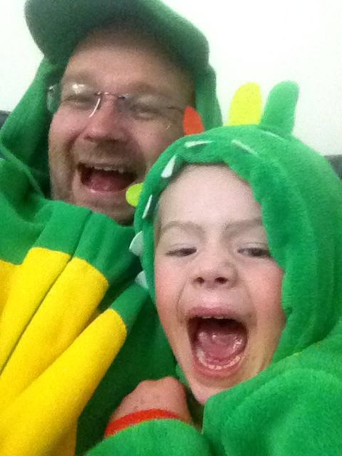 My brother and his son looking happy