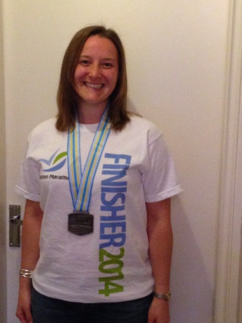 With my finisher's tshirt and medal