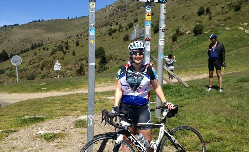 Tamsyn and her bike at the top of Col D'Aspin
