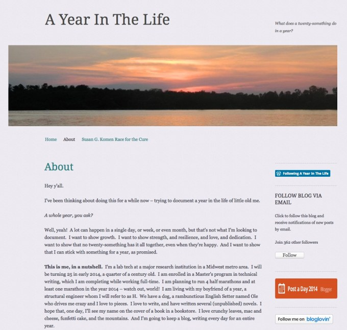Screenshot of A year in the life blog