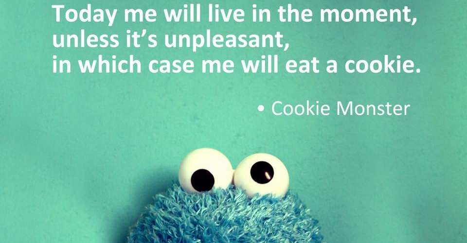 """Today me will live in the moment, unless it's unpleasant, in which case me will eat a cookie"" - Cookie Monster image and quote."