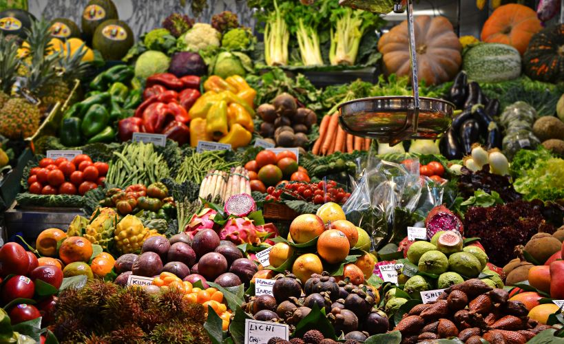 Fruit and vegetables at a market