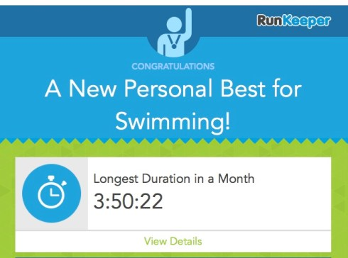 New PB for swimming - time