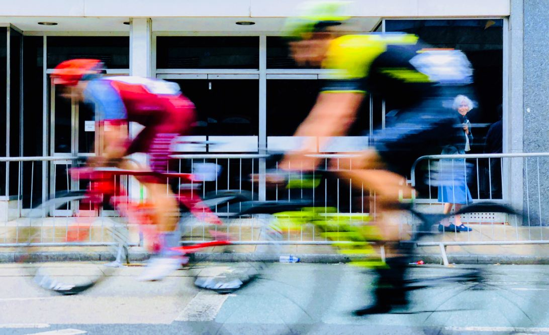 Blurred image of two cyclists
