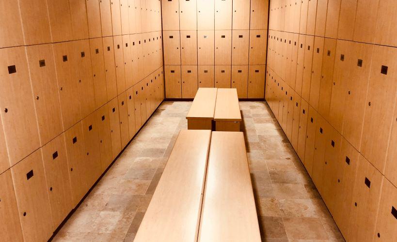 An empty locker room.