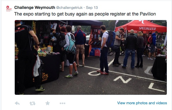 Tweet about the Expo at Challenge Weymouth with a photo of people at the Expo.