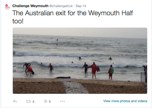 Tweet about the Australian exit showing the rough sea.