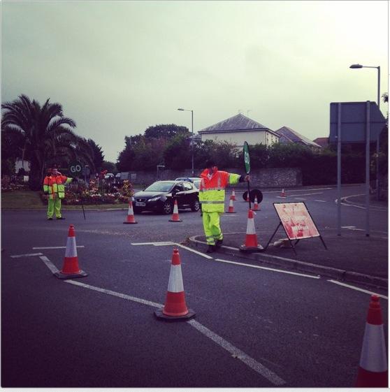 Marshalls at roundabout.