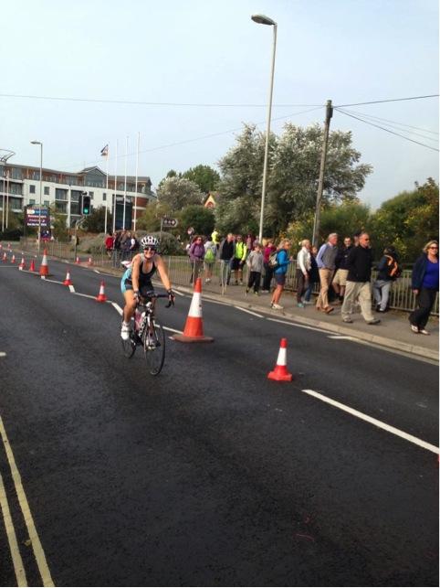 Tamsyn on her bike in Weymouth.