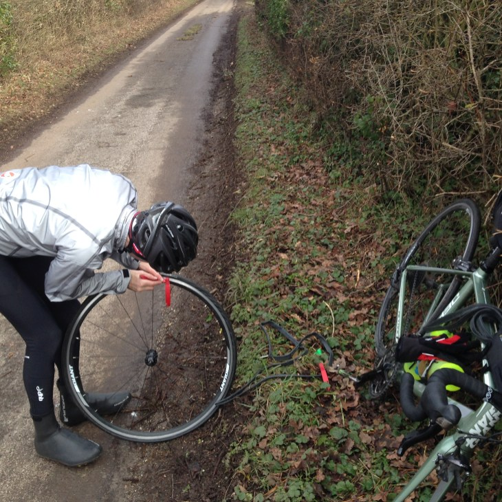 Stu fixing a puncture at the Evans RideIt! sportive