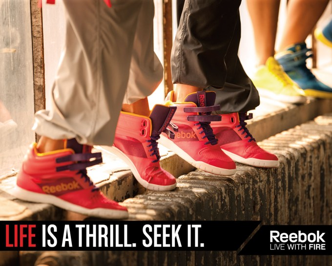 Life is a thrill. Seek it. Reebok advert showing pairs of shoes.