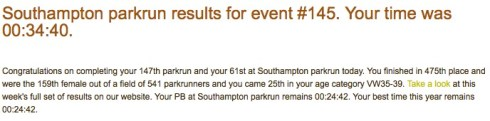 My parkrun result email from 21 March 2015