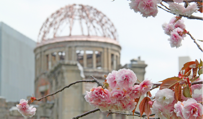 Close up of the A bomb dome with cherry blossom in the foreground.