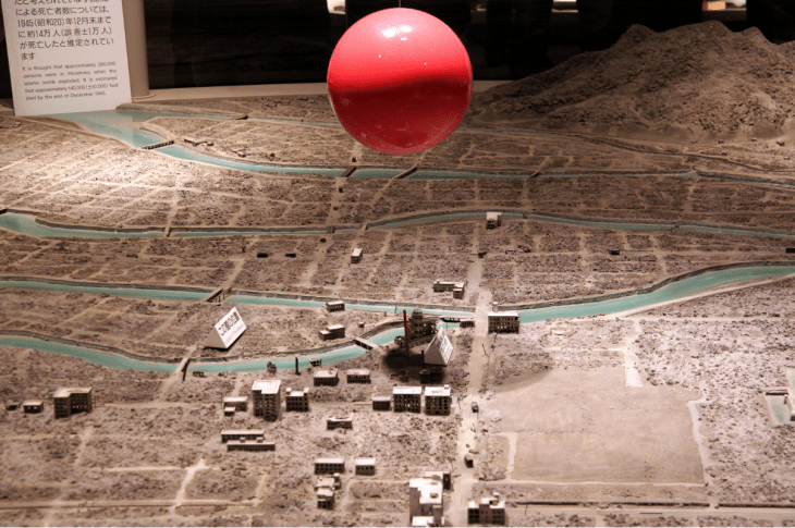 Scale model of Hiroshima showing where the atomic bomb detonated and the city layout.