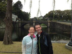 Stuart and Tamsyn posing in front of the Imperial Palace