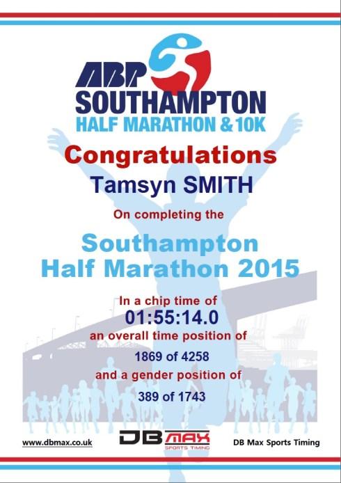 Southampton Half Marathon Certificate