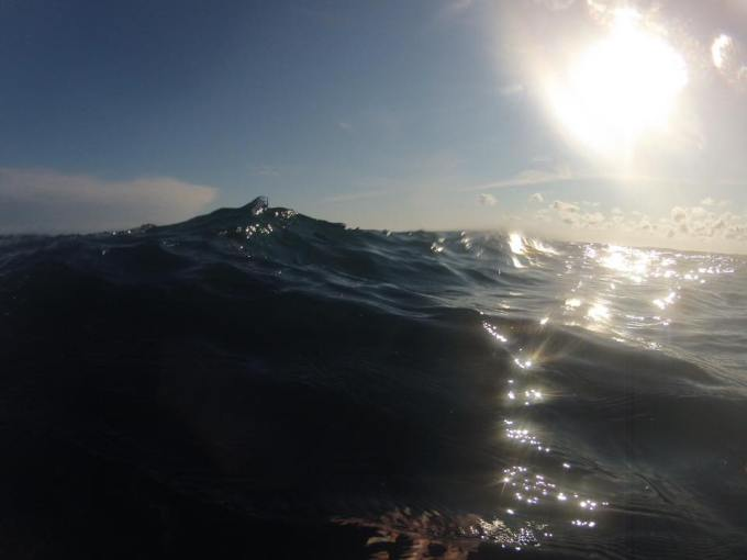 A view of the choppy sea (taken using a Go Pro camera).