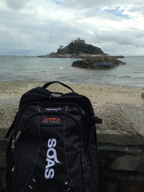 My bag in front of St Michael's Mount