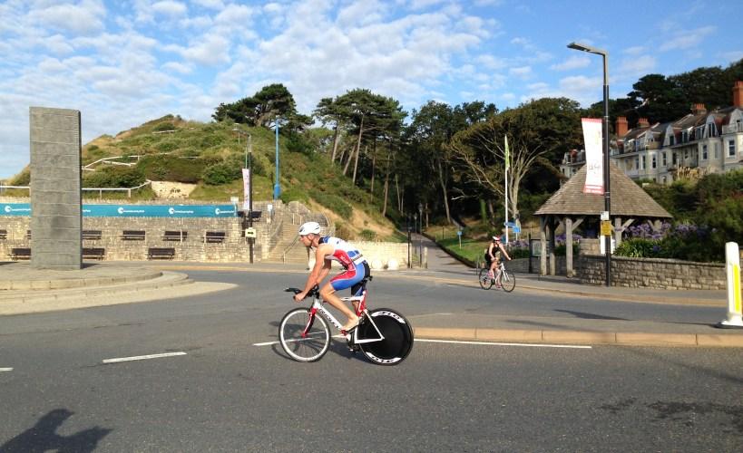 Cyclist at Salty Sea Dog triathlon