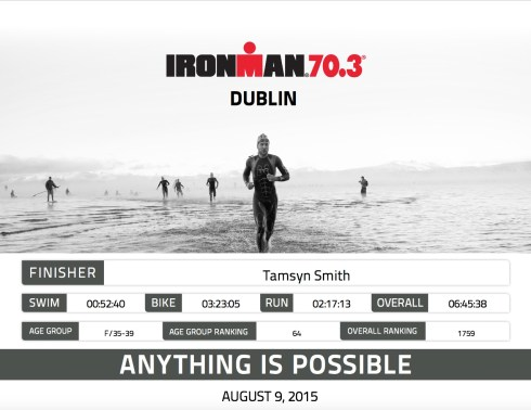 Ironman Dublin 70.3 finisher certificate