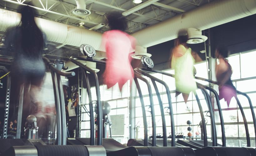 Four women doing a treadmill workout