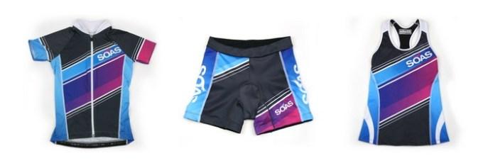 SOAS Aquarius cycling top, tri shorts and tri tank.