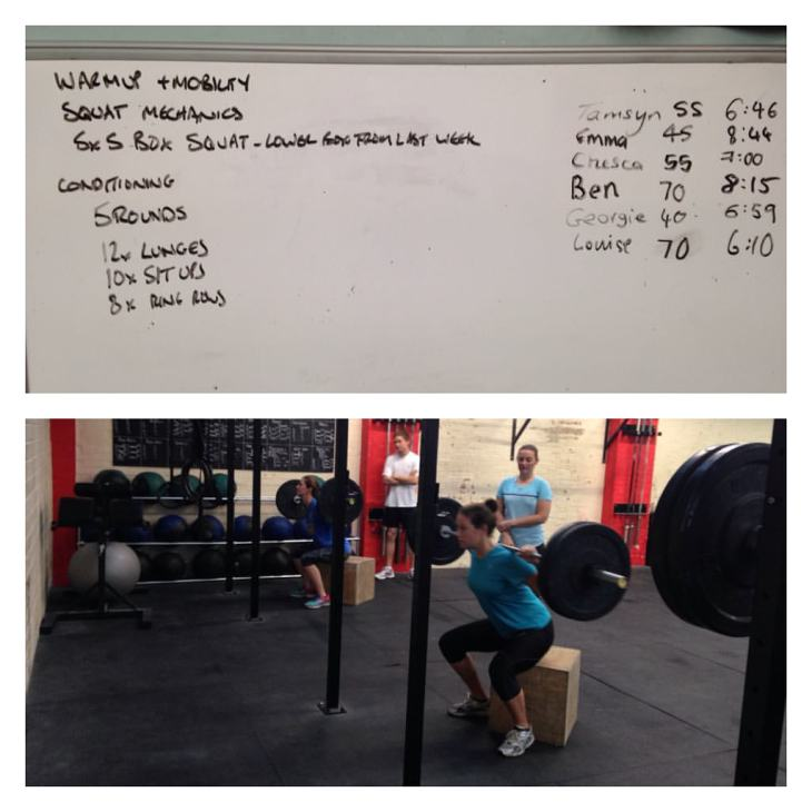 Montage of whiteboard and athletes doing squats.