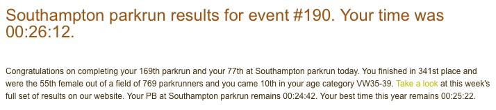 parkrun result 30th January