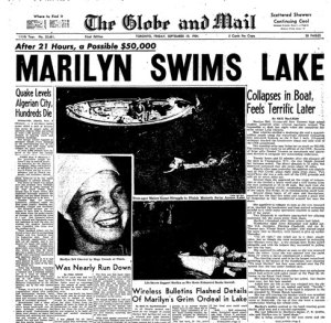 Marilyn Bell on the front page of The Globe and Mail, September 10, 1954