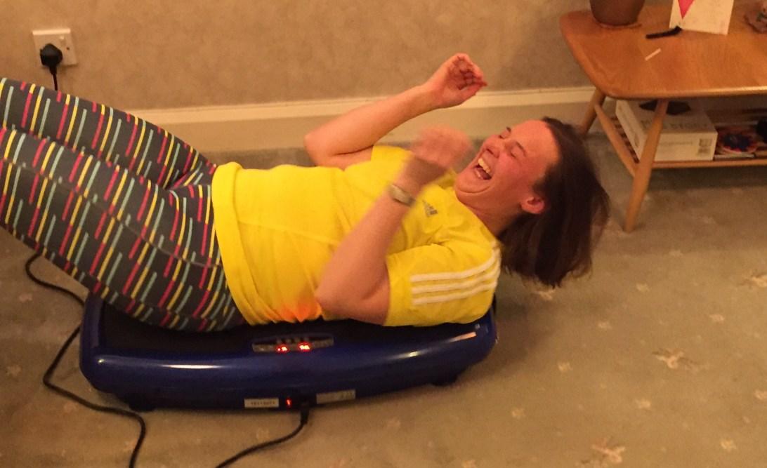 Tamsyn laughing on Skandika vibration plate