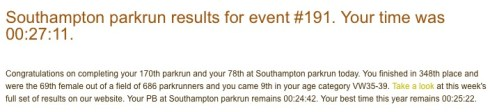 Southampton parkrun 6th February 2016