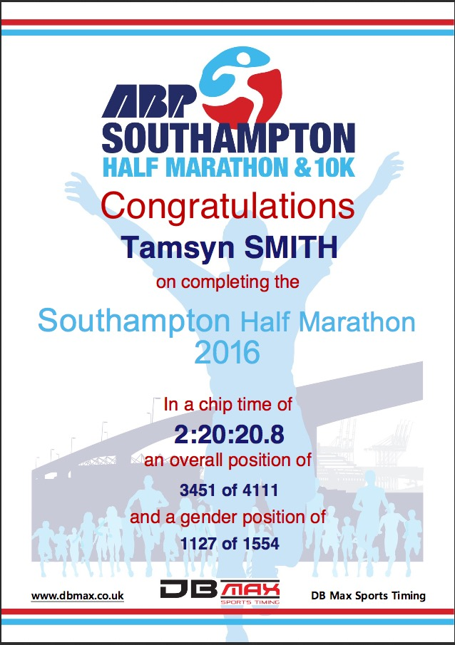 Southampton half certificate