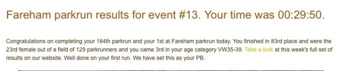 Fareham parkrun 2nd July 2016