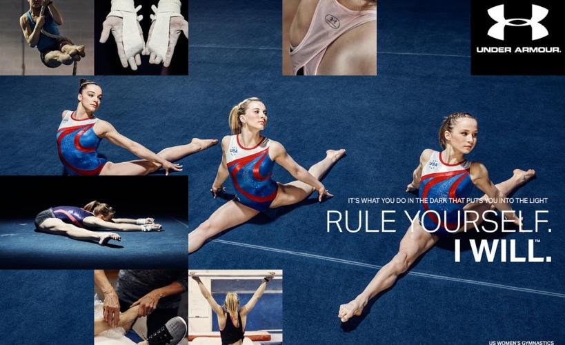 Still from the Rule Yourself campaign that shows the sacrifices gymnasts make