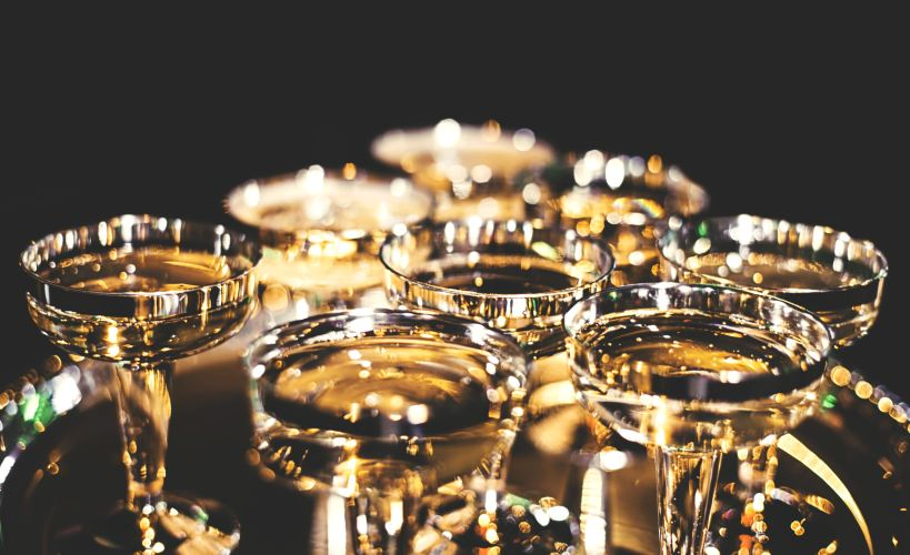 Tray of champagne coupes